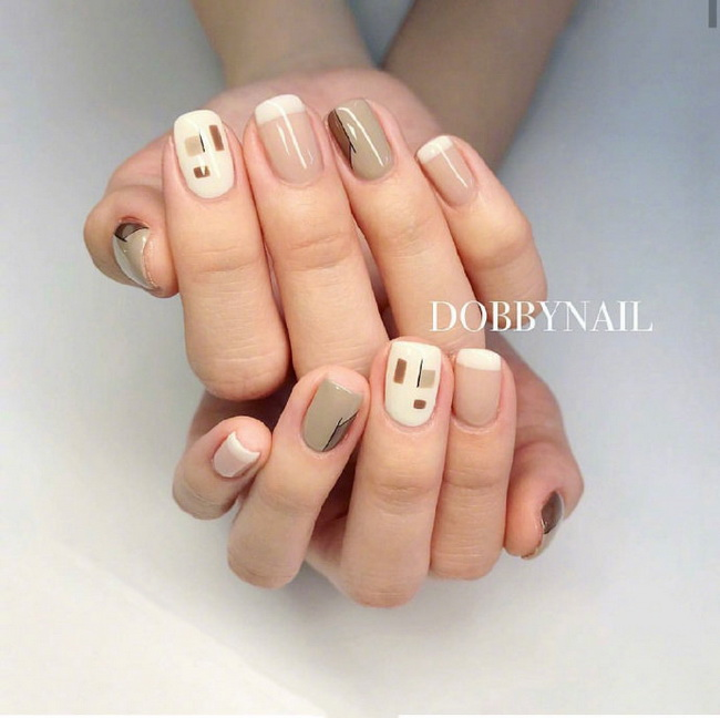 Cute short nails colored small nail art pictures